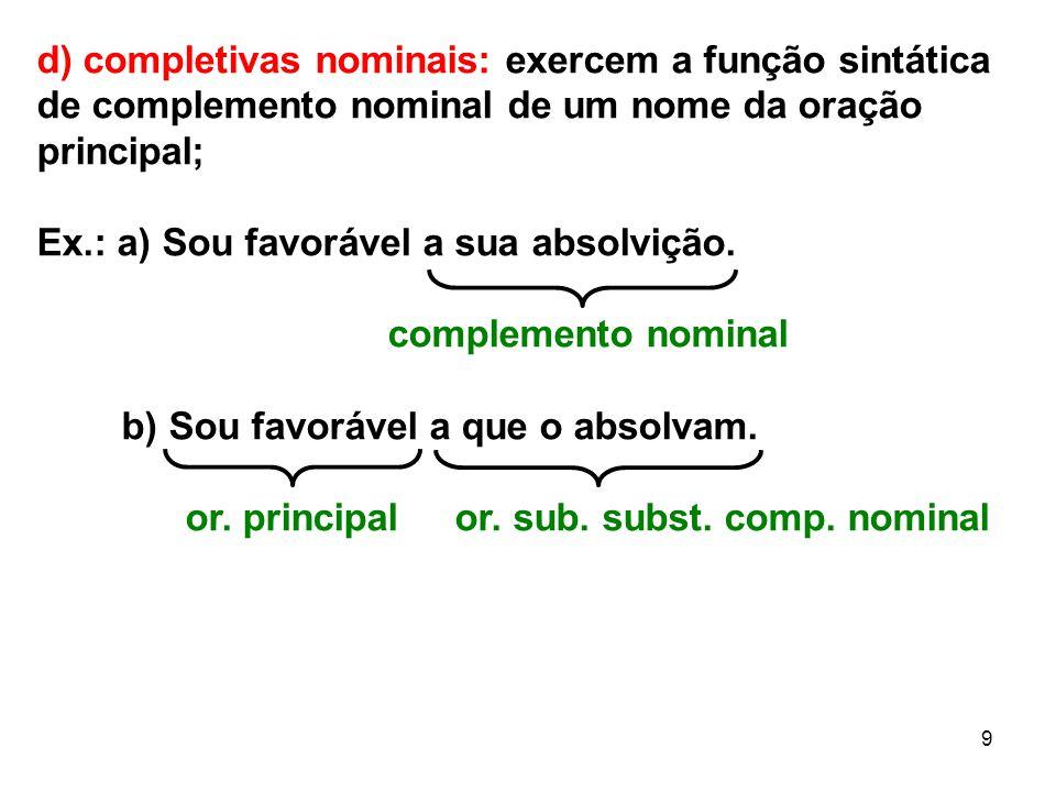9 d) completivas nominais: exercem a função sintática de complemento nominal de um nome da oração principal; Ex.: a) Sou favorável a sua absolvição. c