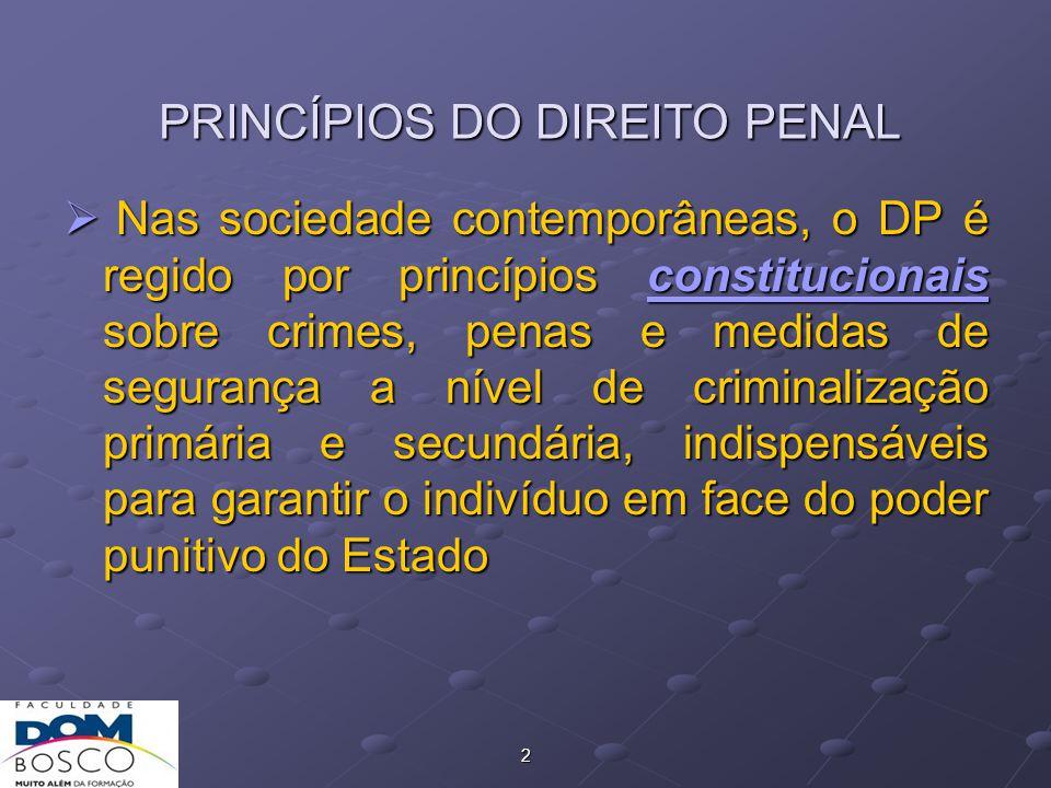 2 PRINCÍPIOS DO DIREITO PENAL  Nas sociedade contemporâneas, o DP é regido por princípios constitucionais sobre crimes, penas e medidas de segurança a nível de criminalização primária e secundária, indispensáveis para garantir o indivíduo em face do poder punitivo do Estado