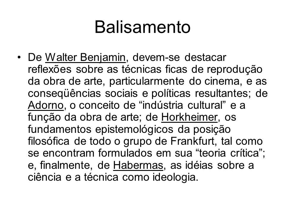 Balisamento De Walter Benjamin, devem-se destacar reflexões sobre as técnicas ficas de reprodução da obra de arte, particularmente do cinema, e as con