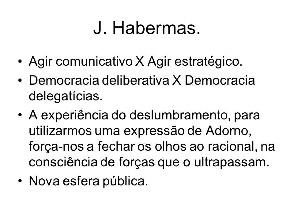 J. Habermas. Agir comunicativo X Agir estratégico. Democracia deliberativa X Democracia delegatícias. A experiência do deslumbramento, para utilizarmo