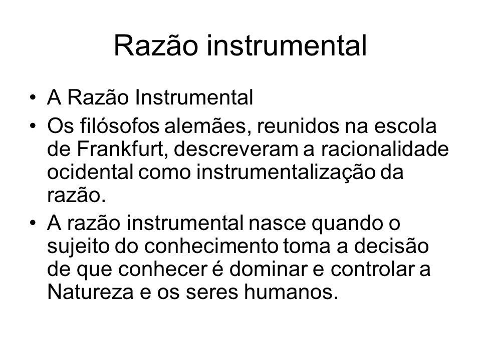 Razão instrumental A Razão Instrumental Os filósofos alemães, reunidos na escola de Frankfurt, descreveram a racionalidade ocidental como instrumental