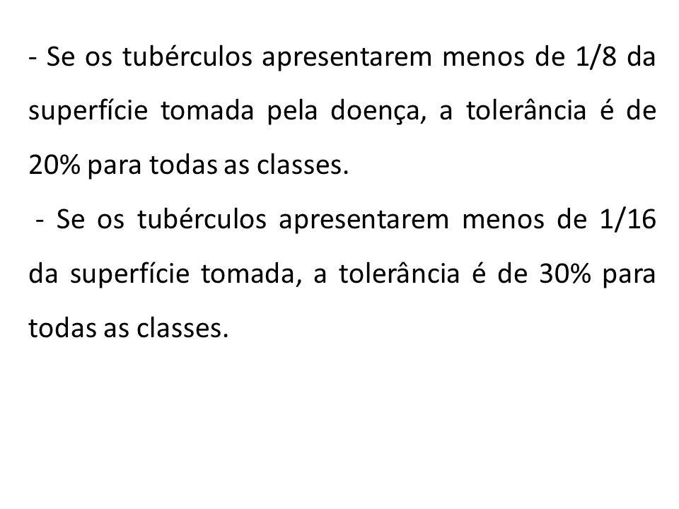 - Se os tubérculos apresentarem menos de 1/8 da superfície tomada pela doença, a tolerância é de 20% para todas as classes. - Se os tubérculos apresen