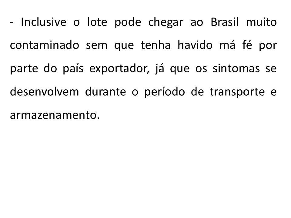 - Inclusive o lote pode chegar ao Brasil muito contaminado sem que tenha havido má fé por parte do país exportador, já que os sintomas se desenvolvem