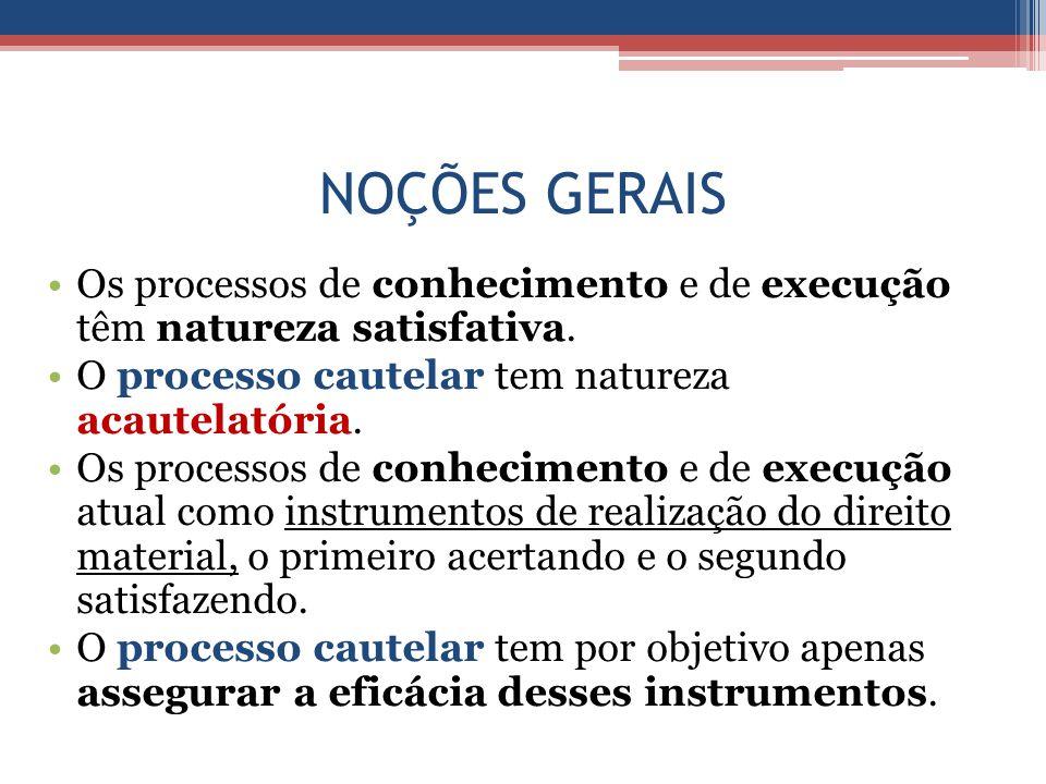 NOÇÕES GERAIS Os processos de conhecimento e de execução têm natureza satisfativa. O processo cautelar tem natureza acautelatória. Os processos de con