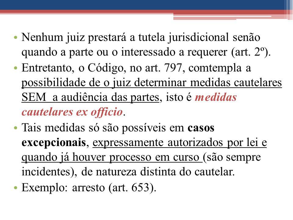 Nenhum juiz prestará a tutela jurisdicional senão quando a parte ou o interessado a requerer (art. 2º). Entretanto, o Código, no art. 797, comtempla a