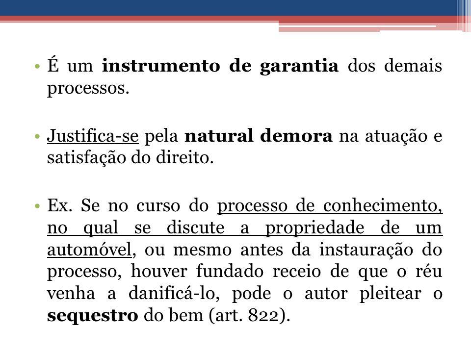 É um instrumento de garantia dos demais processos. Justifica-se pela natural demora na atuação e satisfação do direito. Ex. Se no curso do processo de