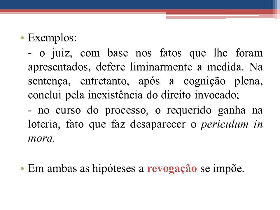 Exemplos: - o juiz, com base nos fatos que lhe foram apresentados, defere liminarmente a medida.