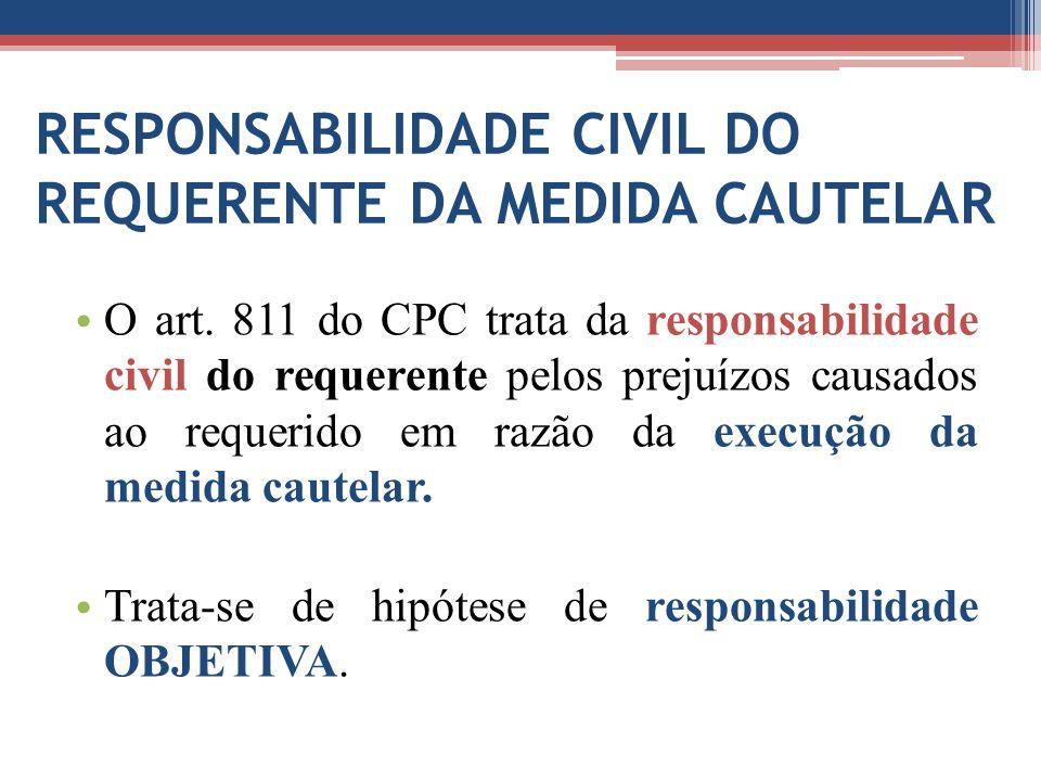 RESPONSABILIDADE CIVIL DO REQUERENTE DA MEDIDA CAUTELAR O art. 811 do CPC trata da responsabilidade civil do requerente pelos prejuízos causados ao re
