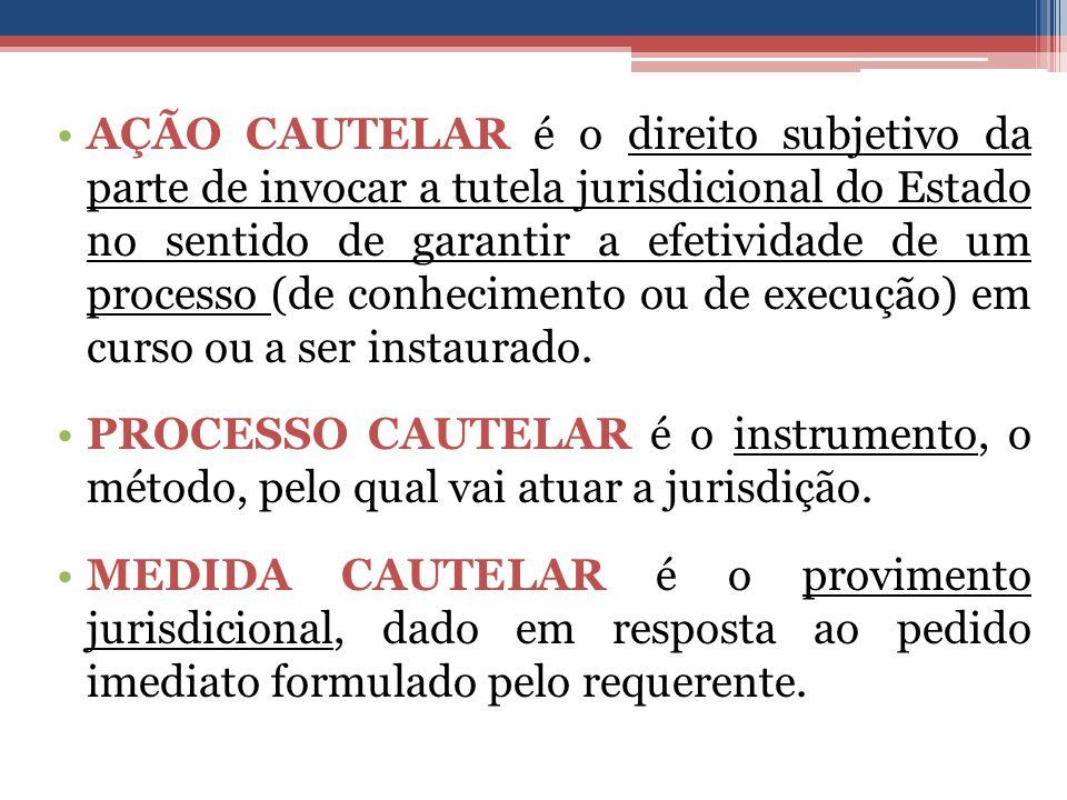 AÇÃO CAUTELAR é o direito subjetivo da parte de invocar a tutela jurisdicional do Estado no sentido de garantir a efetividade de um processo (de conhecimento ou de execução) em curso ou a ser instaurado.