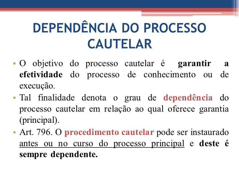 DEPENDÊNCIA DO PROCESSO CAUTELAR O objetivo do processo cautelar é garantir a efetividade do processo de conhecimento ou de execução.