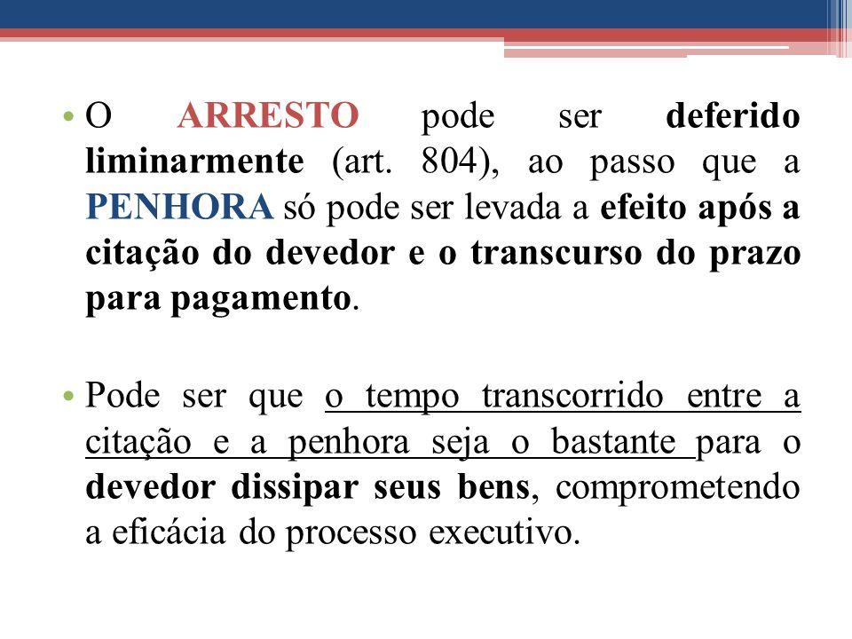 O ARRESTO pode ser deferido liminarmente (art. 804), ao passo que a PENHORA só pode ser levada a efeito após a citação do devedor e o transcurso do pr