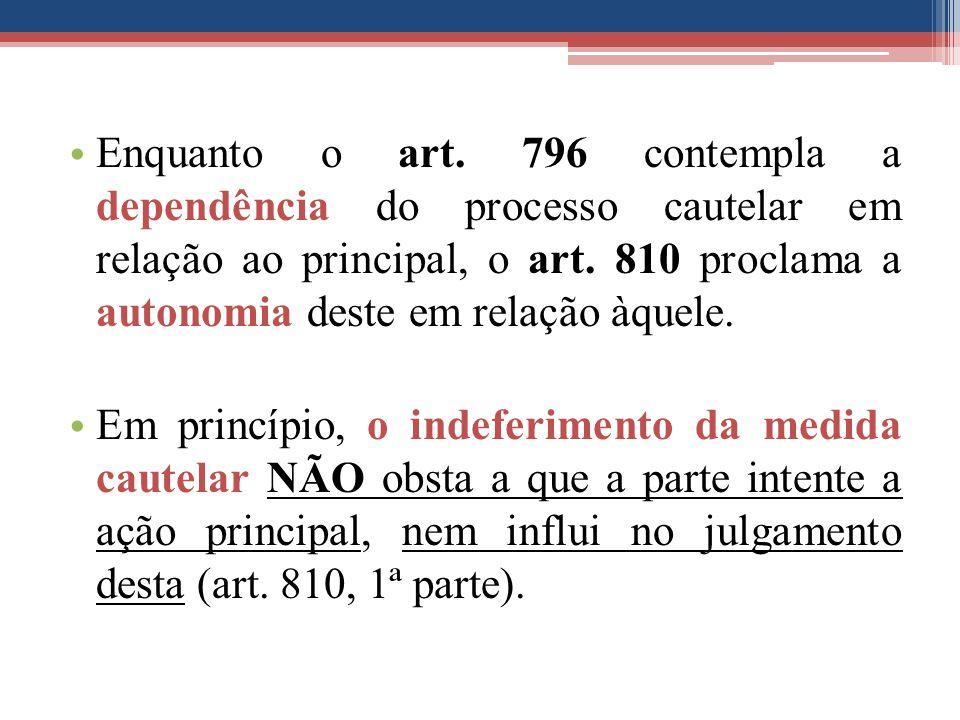 Enquanto o art. 796 contempla a dependência do processo cautelar em relação ao principal, o art. 810 proclama a autonomia deste em relação àquele. Em