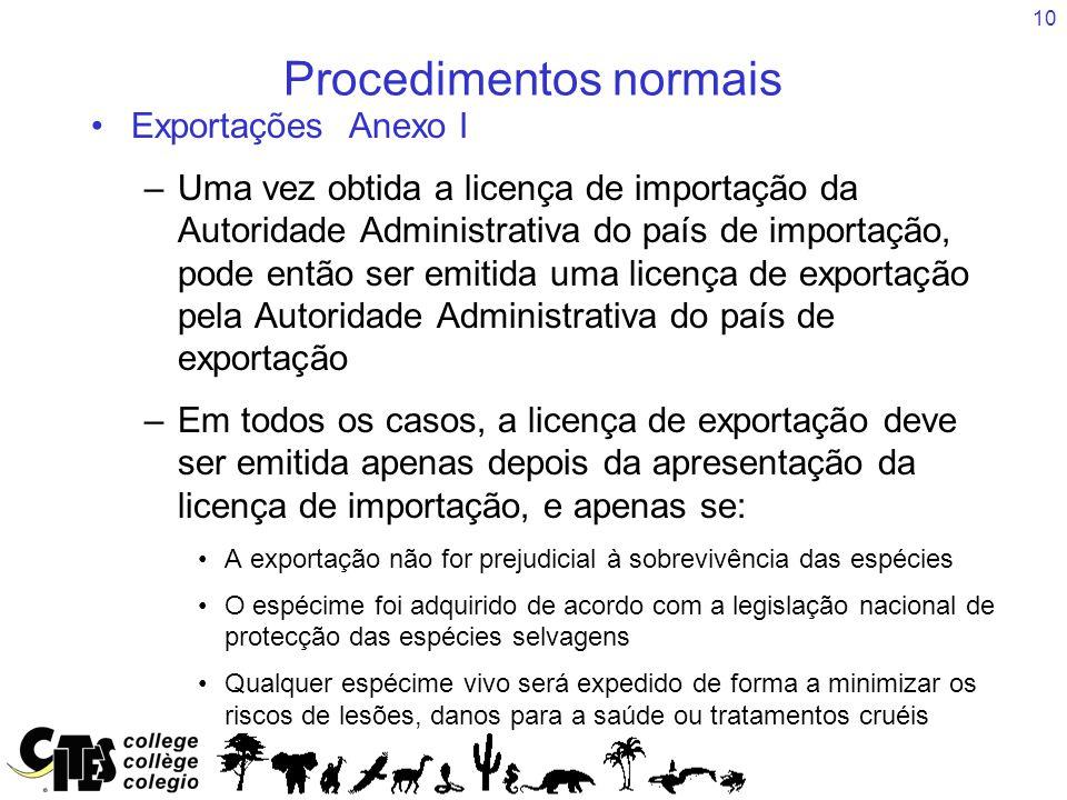10 Procedimentos normais Exportações Anexo I –Uma vez obtida a licença de importação da Autoridade Administrativa do país de importação, pode então se