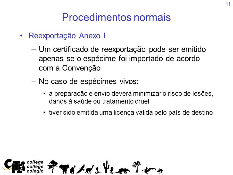 11 Procedimentos normais Reexportação Anexo I –Um certificado de reexportação pode ser emitido apenas se o espécime foi importado de acordo com a Conv