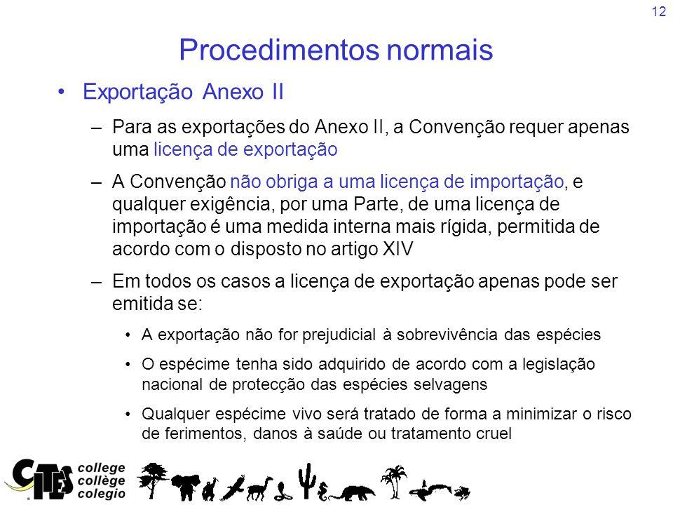 12 Procedimentos normais Exportação Anexo II –Para as exportações do Anexo II, a Convenção requer apenas uma licença de exportação –A Convenção não ob