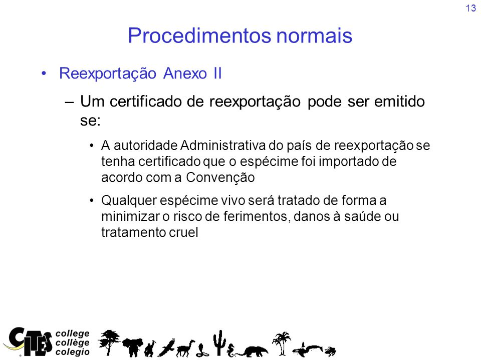 13 Procedimentos normais Reexportação Anexo II –Um certificado de reexportação pode ser emitido se: A autoridade Administrativa do país de reexportaçã