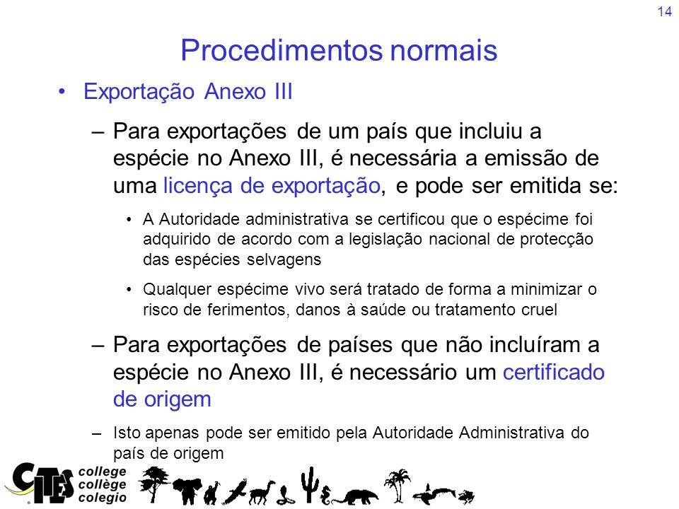 14 Procedimentos normais Exportação Anexo III –Para exportações de um país que incluiu a espécie no Anexo III, é necessária a emissão de uma licença d