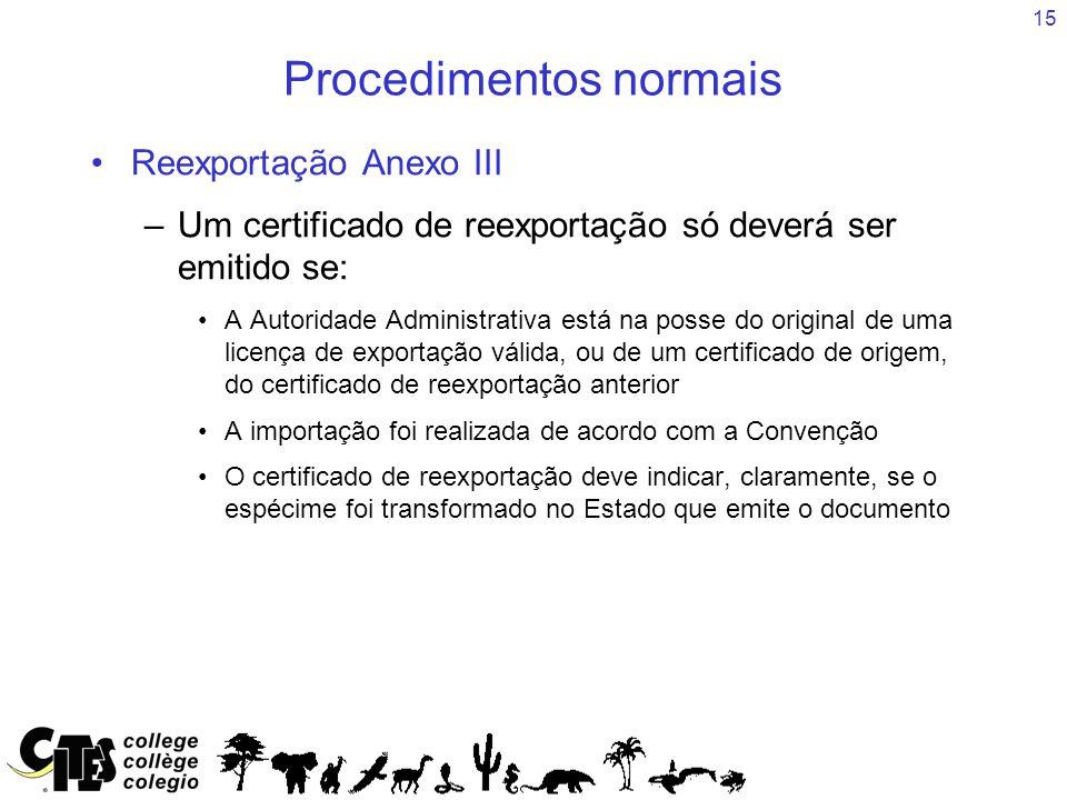 15 Procedimentos normais Reexportação Anexo III –Um certificado de reexportação só deverá ser emitido se: A Autoridade Administrativa está na posse do