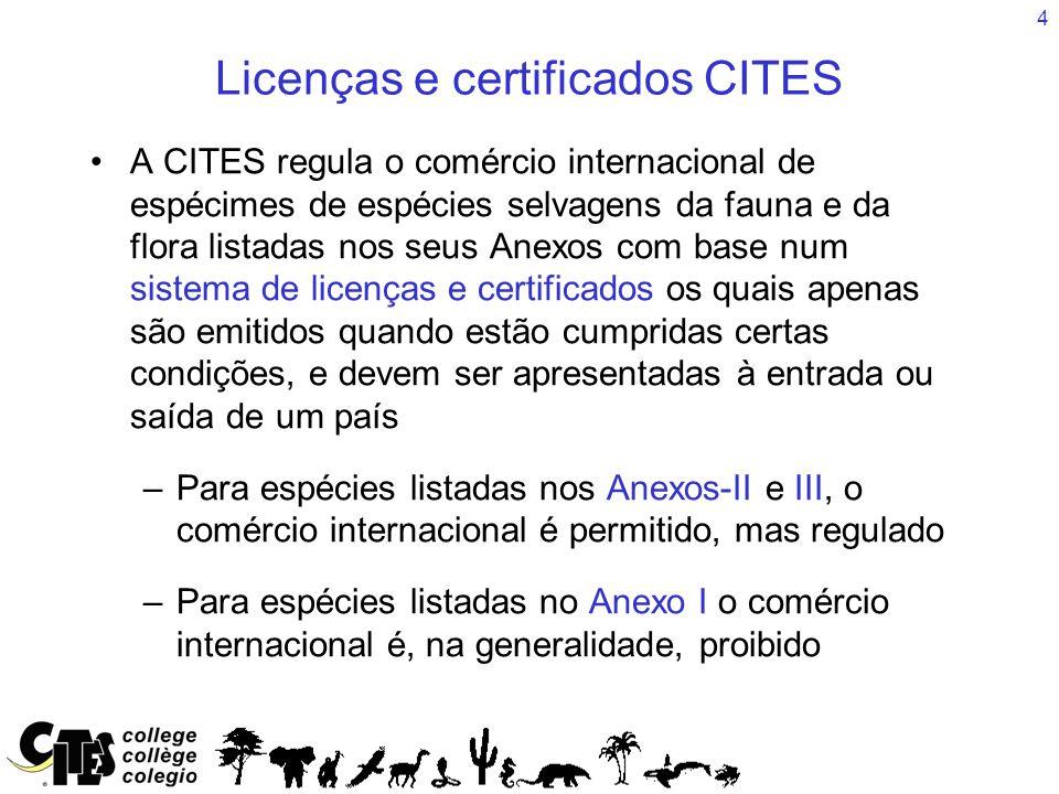 4 Licenças e certificados CITES A CITES regula o comércio internacional de espécimes de espécies selvagens da fauna e da flora listadas nos seus Anexo