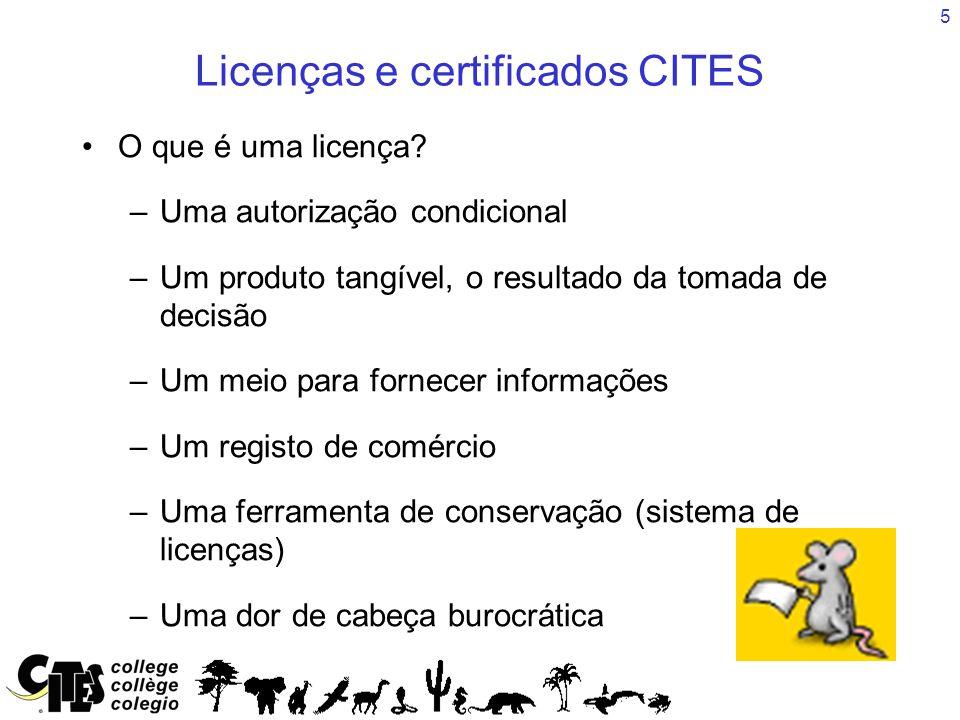 5 Licenças e certificados CITES O que é uma licença? –Uma autorização condicional –Um produto tangível, o resultado da tomada de decisão –Um meio para