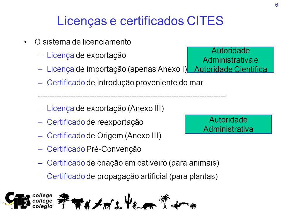 6 Licenças e certificados CITES O sistema de licenciamento –Licença de exportação –Licença de importação (apenas Anexo I) –Certificado de introdução p