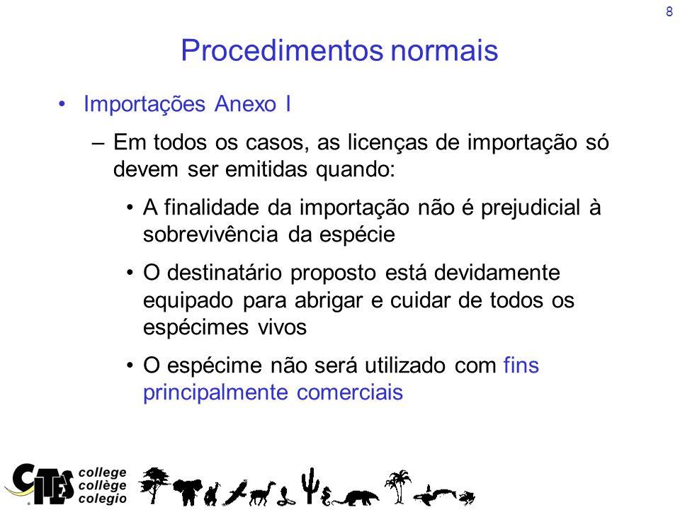 8 Procedimentos normais Importações Anexo I –Em todos os casos, as licenças de importação só devem ser emitidas quando: A finalidade da importação não