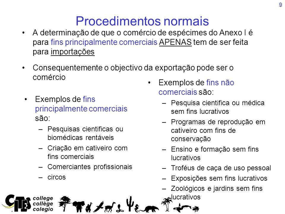 9 Procedimentos normais A determinação de que o comércio de espécimes do Anexo I é para fins principalmente comerciais APENAS tem de ser feita para im