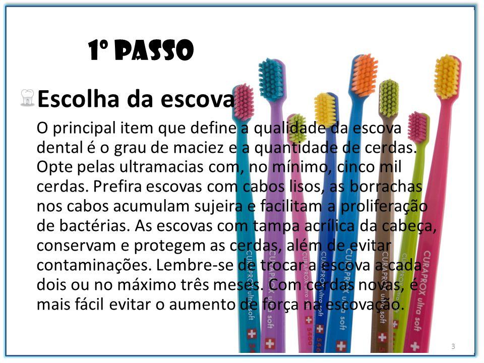 1º passo Escolha da escova O principal item que define a qualidade da escova dental é o grau de maciez e a quantidade de cerdas. Opte pelas ultramacia