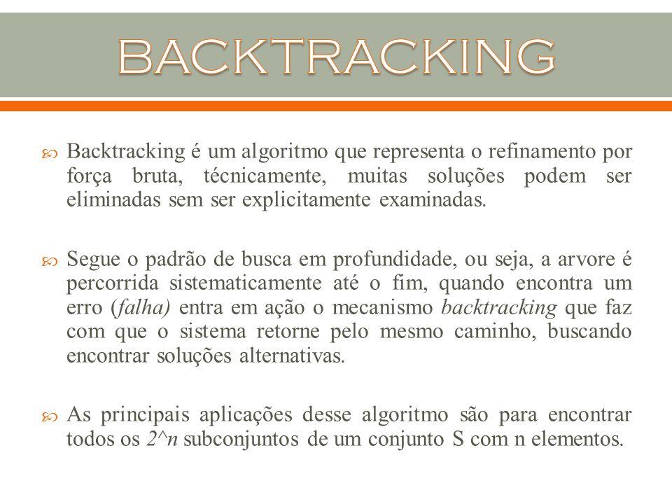  Backtracking é um algoritmo que representa o refinamento por força bruta, técnicamente, muitas soluções podem ser eliminadas sem ser explicitamente