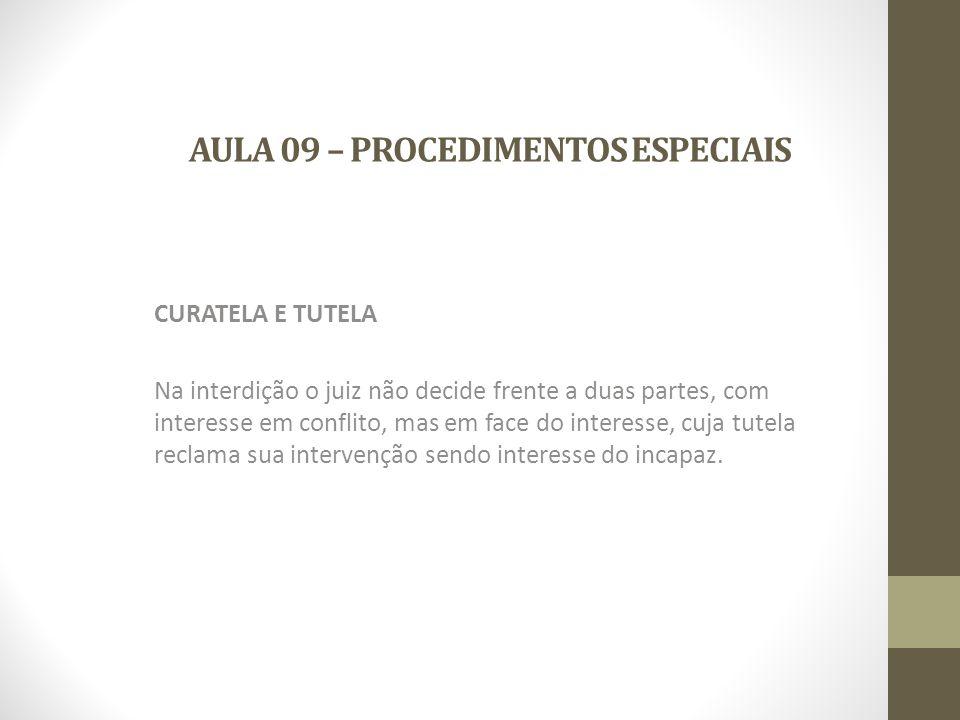 AULA 09 – PROCEDIMENTOS ESPECIAIS LEGITIMIDADE ATIVA DO MINISTÉRIO PÚBLICO: São em situações casuísticas.