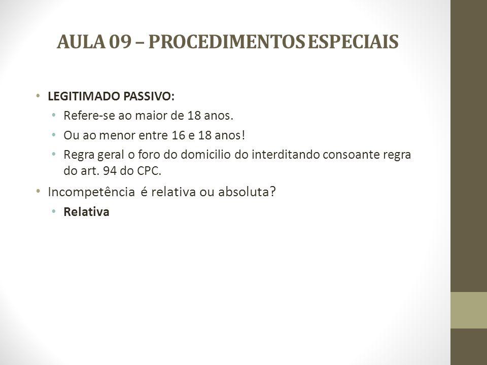AULA 09 – PROCEDIMENTOS ESPECIAIS LEGLITIMIDADE PARA PROMOVER A INTERDIÇÃO: Art.