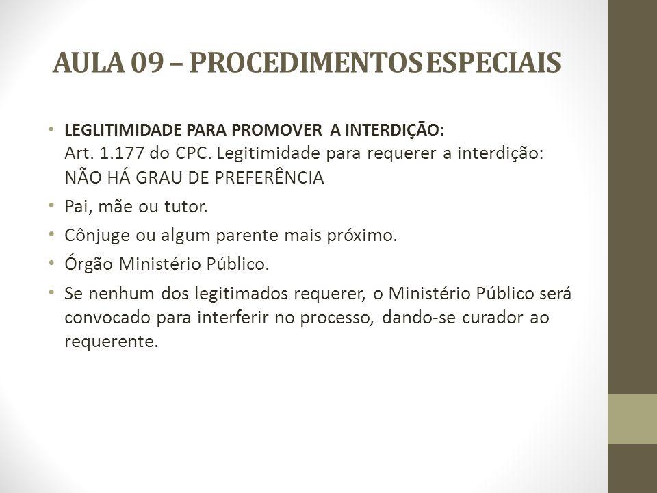 AULA 09 – PROCEDIMENTOS ESPECIAIS LEVANTAMENTO DA INTERDIÇÃO: Cessada a causa da interdição o interdito poderá requerer seu levantamento.