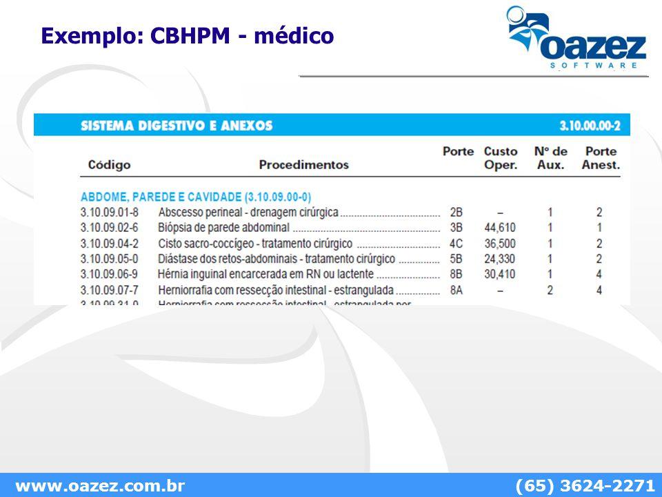 Exemplo: CBHPM - médico www.oazez.com.br(65) 3624-2271