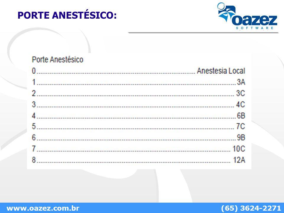 PORTE ANESTÉSICO: www.oazez.com.br(65) 3624-2271