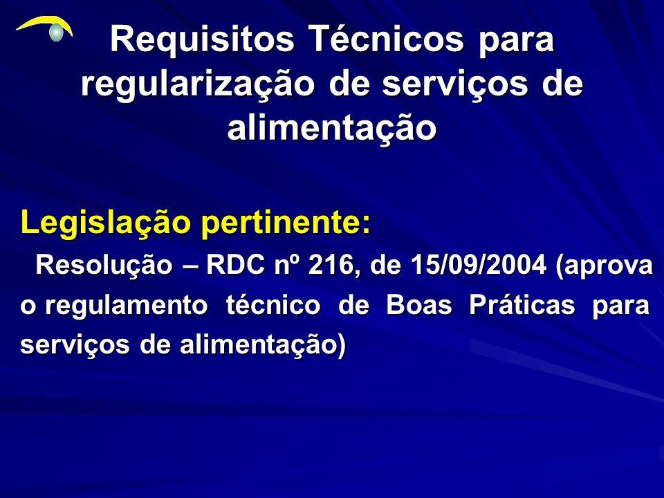 Requisitos Técnicos para regularização de serviços de alimentação Legislação pertinente: Resolução – RDC nº 216, de 15/09/2004 (aprova Resolução – RDC nº 216, de 15/09/2004 (aprova o regulamento técnico de Boas Práticas para serviços de alimentação)