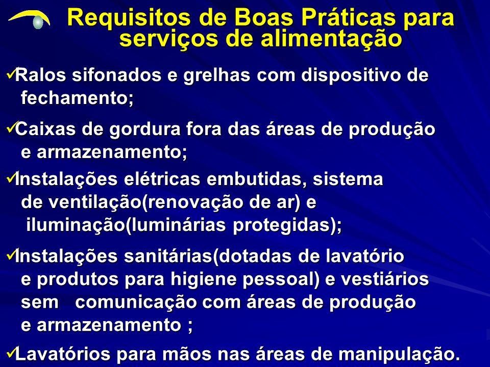 Requisitos de Boas Práticas para serviços de alimentação Lavatórios para mãos nas áreas de manipulação.