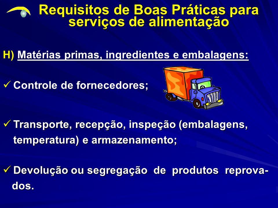 H) Matérias primas, ingredientes e embalagens: Requisitos de Boas Práticas para serviços de alimentação Controle de fornecedores; Controle de fornecedores; Transporte, recepção, inspeção (embalagens, temperatura) e armazenamento; Transporte, recepção, inspeção (embalagens, temperatura) e armazenamento; Devolução ou segregação de produtos reprova- Devolução ou segregação de produtos reprova- dos.