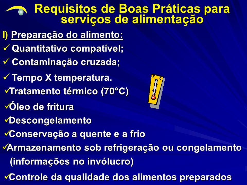 I) Preparação do alimento: Requisitos de Boas Práticas para serviços de alimentação Quantitativo compatível; Quantitativo compatível; Contaminação cruzada; Contaminação cruzada; Tempo X temperatura.
