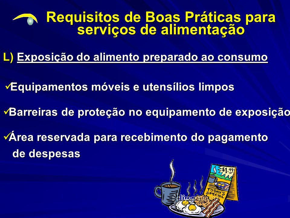 Requisitos de Boas Práticas para serviços de alimentação L) Exposição do alimento preparado ao consumo Equipamentos móveis e utensílios limpos Equipam