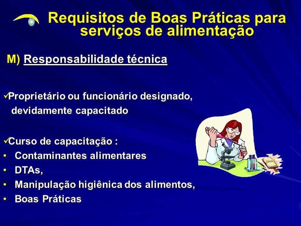 Requisitos de Boas Práticas para serviços de alimentação M) Responsabilidade técnica Proprietário ou funcionário designado, Proprietário ou funcionári