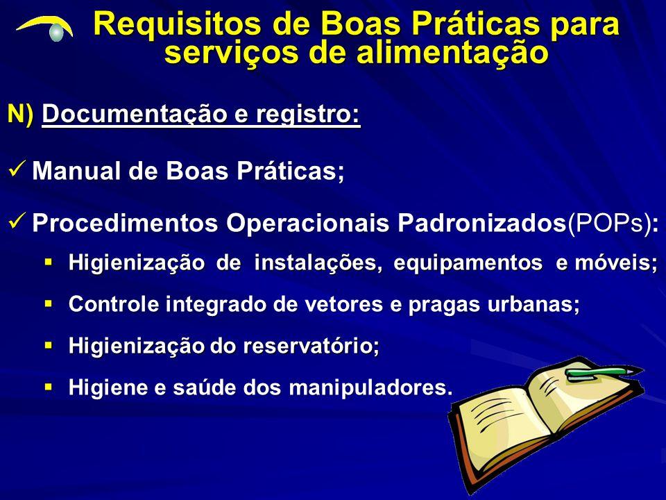 N) Documentação e registro: Requisitos de Boas Práticas para serviços de alimentação Manual de Boas Práticas; Manual de Boas Práticas; Procedimentos Operacionais Padronizados(POPs): Procedimentos Operacionais Padronizados(POPs):  Higiene e saúde dos manipuladores.