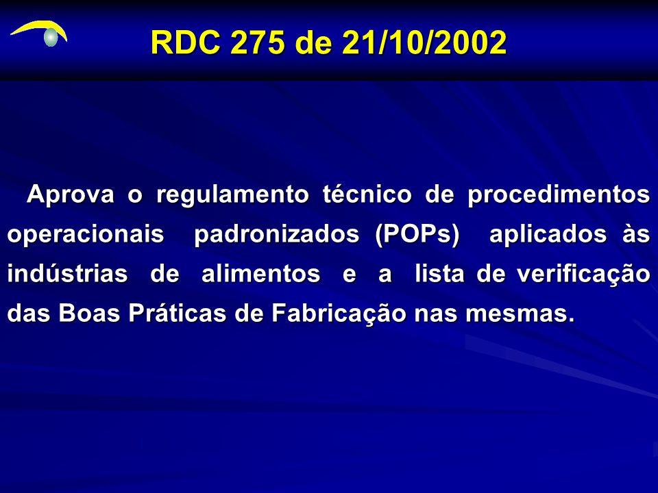 RDC 275 de 21/10/2002 Aprova o regulamento técnico de procedimentos operacionais padronizados (POPs) aplicados às indústrias de alimentos e a lista de verificação das Boas Práticas de Fabricação nas mesmas.