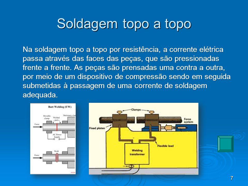Soldagem por centelhamento Na soldagem topo a topo por centelhamento, em geral, não é necessária nenhuma preparação das superfícies de contato.