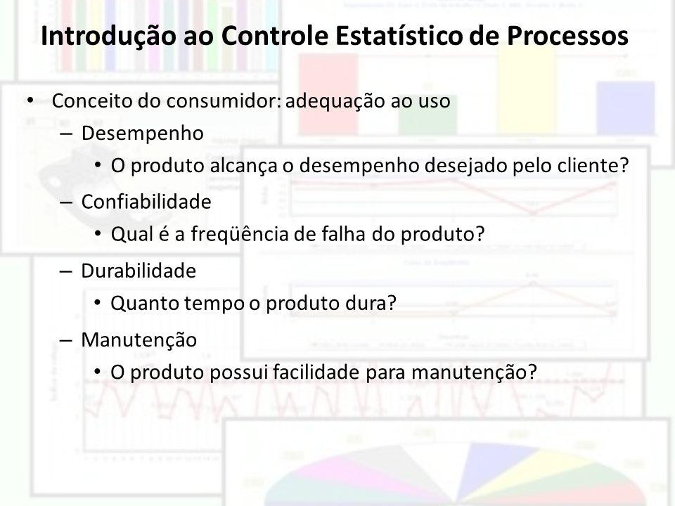 Introdução ao Controle Estatístico de Processos Conceito do consumidor: adequação ao uso – Desempenho O produto alcança o desempenho desejado pelo cli