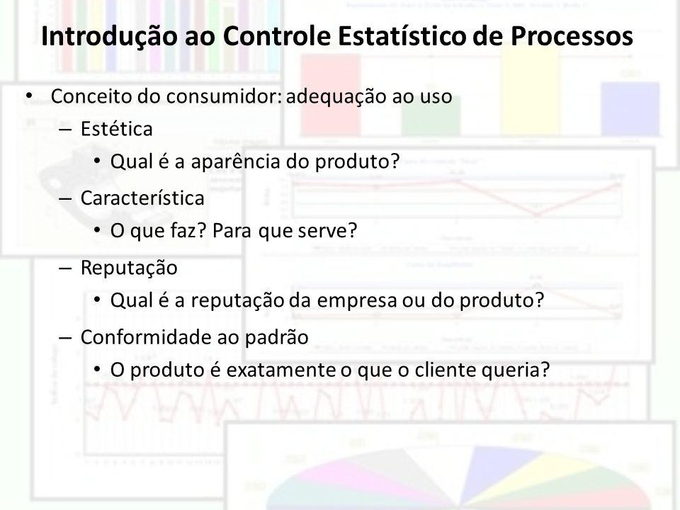 Introdução ao Controle Estatístico de Processos Conceito do consumidor: adequação ao uso – Estética Qual é a aparência do produto? – Característica O