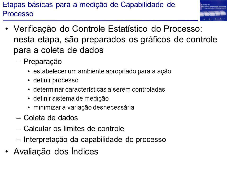 Etapas básicas para a medição de Capabilidade de Processo Verificação do Controle Estatístico do Processo: nesta etapa, são preparados os gráficos de