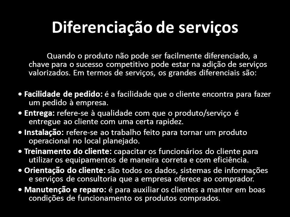 Diferenciação de serviços Quando o produto não pode ser facilmente diferenciado, a chave para o sucesso competitivo pode estar na adição de serviços v