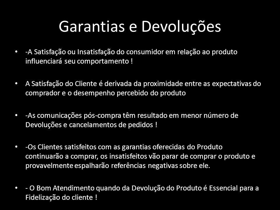 Garantias e Devoluções -A Satisfação ou Insatisfação do consumidor em relação ao produto influenciará seu comportamento ! A Satisfação do Cliente é de