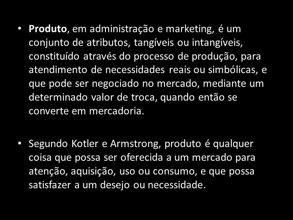 Produto, em administração e marketing, é um conjunto de atributos, tangíveis ou intangíveis, constituído através do processo de produção, para atendim