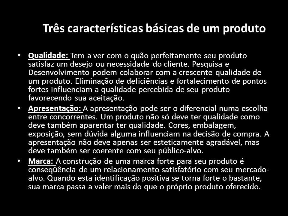 As Três características básicas de um produto Qualidade: Tem a ver com o quão perfeitamente seu produto satisfaz um desejo ou necessidade do cliente.